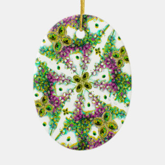 Neo Noveau Style Pattern Double-Sided Oval Ceramic Christmas Ornament