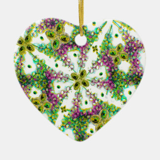 Neo Noveau Style Pattern Double-Sided Heart Ceramic Christmas Ornament