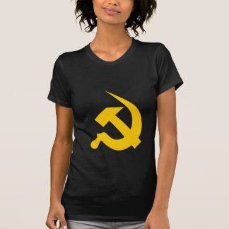 Neo-Thick Bright Yellow Hammer & Sickle on Black T-shirt