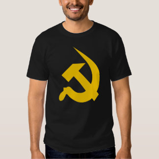 Neo-Thick Bright Yellow Hammer & Sickle on Black Tee Shirt