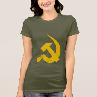 Neo-Thick Dark Yellow Hammer & Sickle on Army T-Shirt