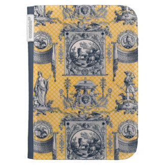 Neoclassical French Country Toile Blue & Yellow Case For The Kindle