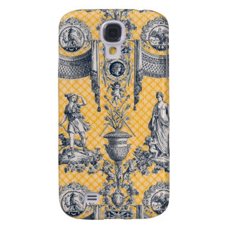 Neoclassical French Country Toile Blue & Yellow Galaxy S4 Cover