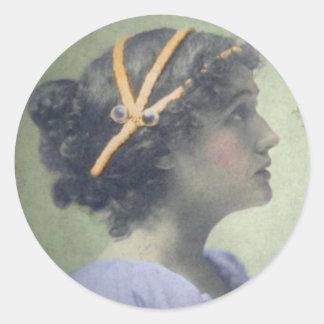 NeoClassical Girl Round Sticker