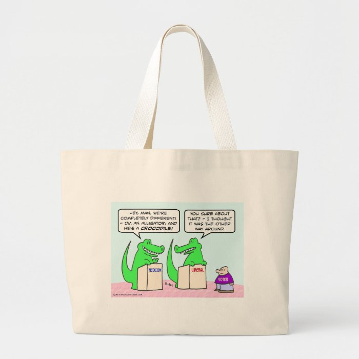 Neocons and Liberals are the same. Large Tote Bag