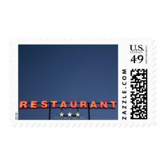Neon 3 star restaurant sign postage stamps