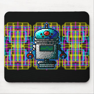 Neon 8-Bit Robots from Outerspace! Mouse Pad