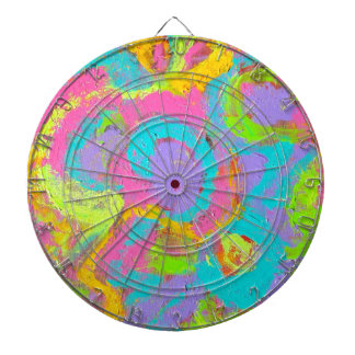 Neon Abstract- Hand Painted Brushstrokes Dartboard
