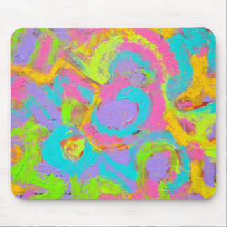 Neon Abstract-Hand Painted Brushstrokes Mouse Pad