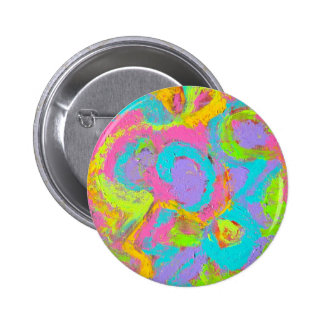 Neon Abstract-Hand Painted Brushstrokes Pinback Button