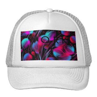 Neon Abstract Hot Pink Turquoise Black Modern Mesh Hat