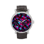 Neon Abstract Hot Pink Turquoise Black Modern Wristwatch