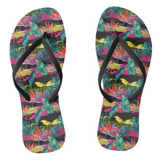 Neon Abstract Tropical Texture Pattern Flip Flops