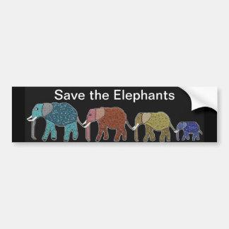 Neon African Elephant Walk Car Bumper Sticker