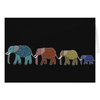 Neon African Elephant Walk Card