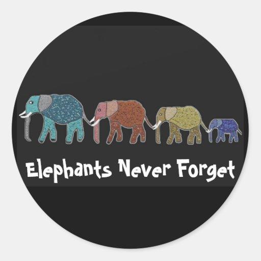 Neon African Elephant Walk Classic Round Sticker