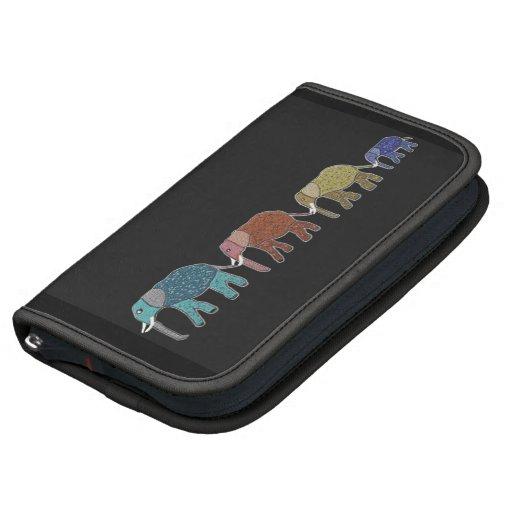 Neon African Elephant Walk Folio Case Planner