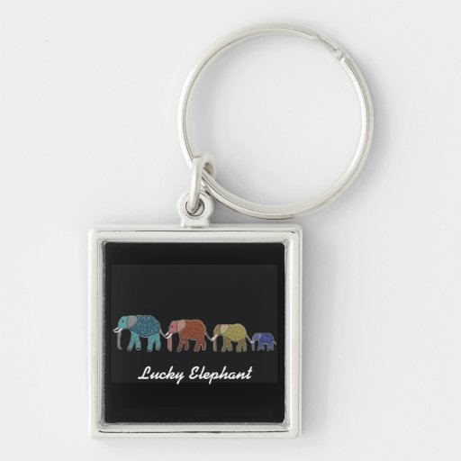 Neon African Elephant Walk Silver-Colored Square Keychain