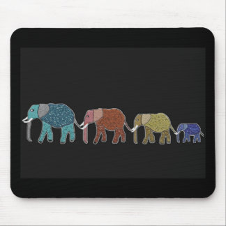 Neon African Elephant Walk Mouse Pad