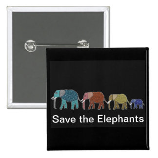 Neon African Elephant Walk Pinback Button