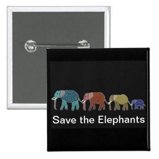 Neon African Elephant Walk Pinback Button
