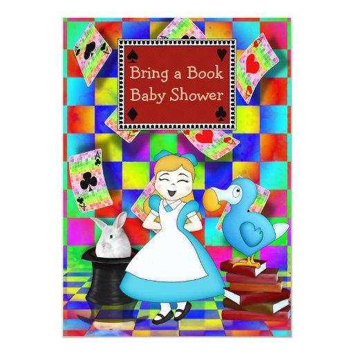 neon alice dodo bring a book baby shower 5x7 paper invitation card