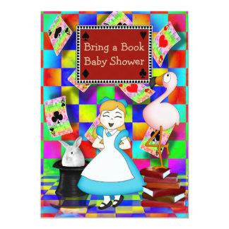 Neon Alice & Flamingo Bring a Book Baby Shower Card