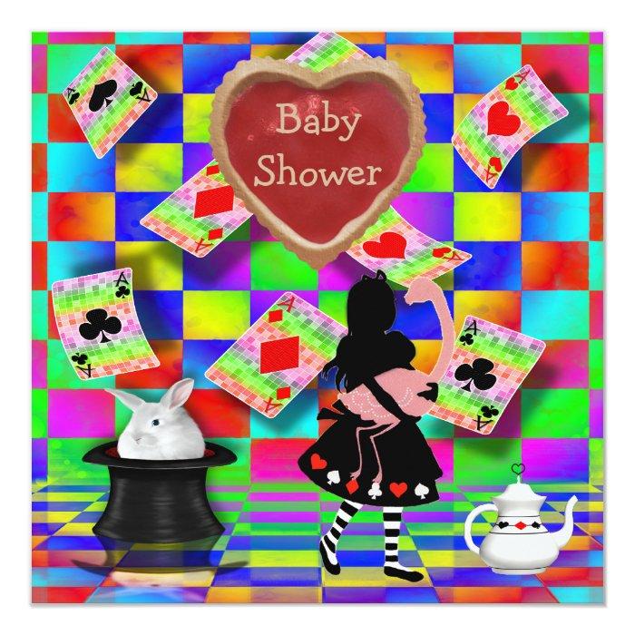 neon alice & flamingo jam tart heart baby shower card | zazzle, Baby shower invitations