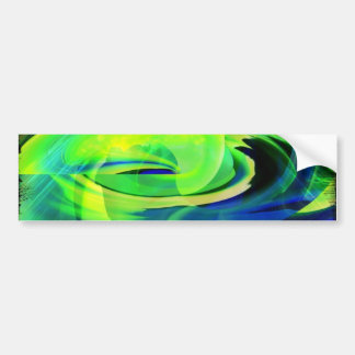 Neon Alien Landscape Abstract Bumper Sticker