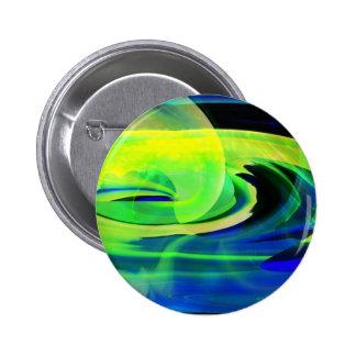 Neon Alien Landscape Abstract Pinback Button