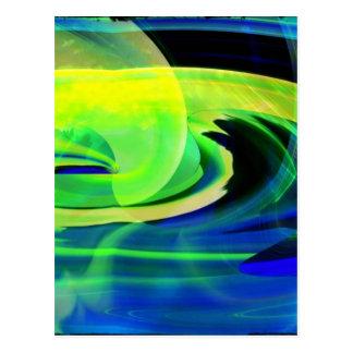 Neon Alien Landscape Abstract Post Card