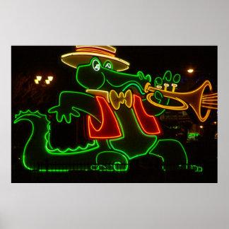 Neon Alligator Print