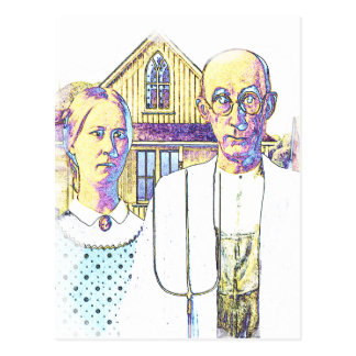 Neon American Gothic With a Twist Postcard