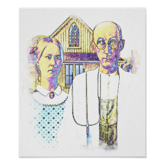 Neon American Gothic With a Twist Print