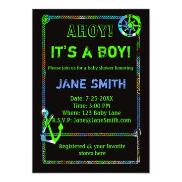 Toddler & Baby themed Neon Anchor Nautical Baby Shower Invitation