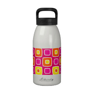 Neon and Bright Color Abstract Squares Water Bottle