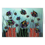 Neon Angelfish Coral Reef Greeting Card