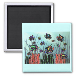 Neon Angelfish Coral Reef Magnets