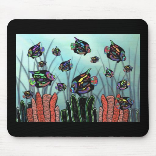 Neon Angelfish Coral Reef Mouse Pads