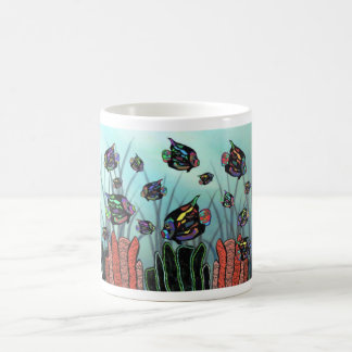 Neon Angelfish Coral Reef Classic White Coffee Mug