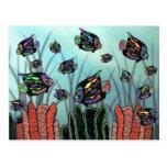 Neon Angelfish Coral Reef Postcards