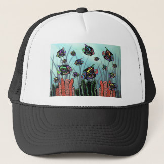 Neon Angelfish Coral Reef Trucker Hat