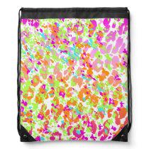 Neon animal cheetah rainbow print drawstring backpack