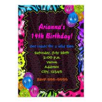 Neon Animal Print Cheetah leopard Zebra Party Invitation