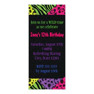 Neon Animal Print Colorful Zebra Leopard Party 4x9.25 Paper Invitation Card