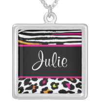 Neon Animal Print Name or Monogram Necklace