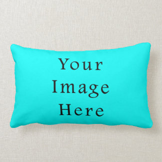 Neon Aqua Blue Bright Turquoise Color Trend Blank Throw Pillow