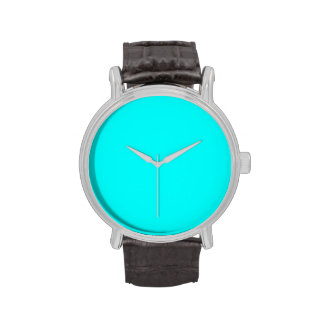 Neon Aqua Blue Bright Turquoise Color Trend Blank Watches
