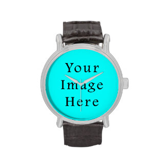 Neon Aqua Blue Bright Turquoise Color Trend Blank Wrist Watches