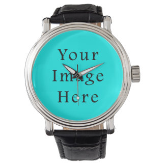 Neon Aqua Blue Bright Turquoise Color Trend Blank Wristwatches